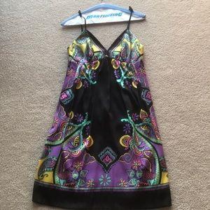 Black silk paisley print slip dress
